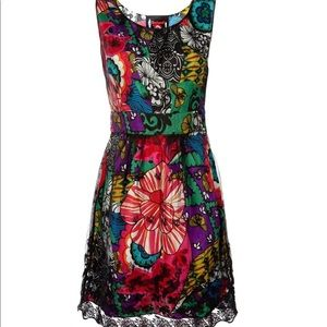 Desigual Floral Dress with Lace Overlay
